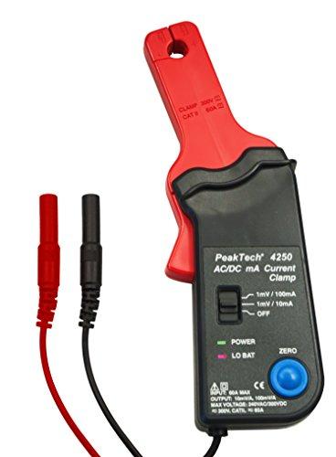 PeakTech 4250 – Stromzangen Adapter 60 A AC/DC für Multimeter, 4 mm Anschluss Stecker, Meß Zange, Strom Tester, Spannungs Messer, Batterie Betrieb, Gleichstrom/ Wechselstrom - CAT II 300 V
