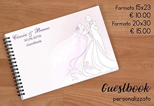 Guestbook matrimonio - libro dediche e auguri invitati personalizzato sposini che ballano