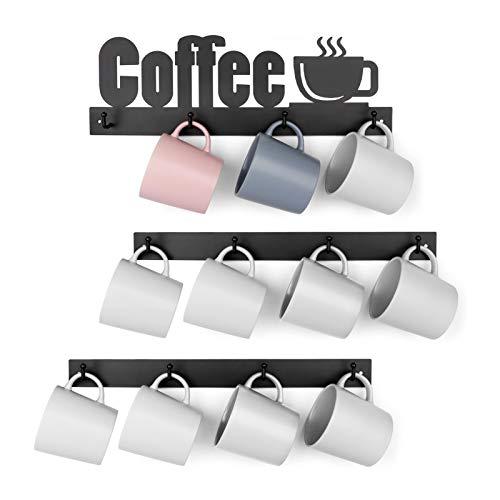 HULISEN Soporte de metal para tazas de café con 12 ganchos, soporte para tazas de café con letrero de café, colgador para tazas de té para bar, cocina, decoración de rincones de café, color negro