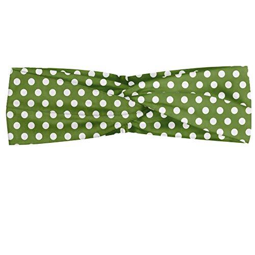 ABAKUHAUS Abakuus Bandana pour foulard Vert à pois blancs sur fond vert Motif Simplistique classique, élastique et confortable Accessoire de tous les jours, vert olive et blanc