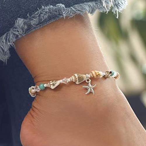 Ludress Boho Layered Anklets Colorful Shell Ankle Bracelet Crystal Ankle Chain Starfish Pendant Foot Chain Jewelry Accessories for Women and Girls