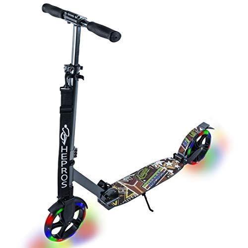 Hepros Fully Flash Scooter 200mm LED Leuchträder Cityroller Erwachsene Anthrazit ABEC7 Radlager Farbe Sport