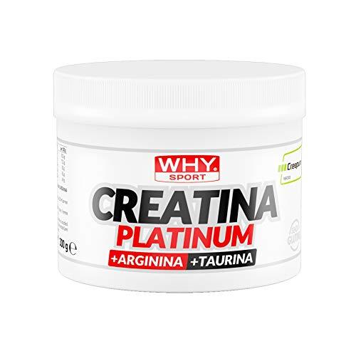 WHY SPORT CREATINA PLATINUM: Creatina monoidrato + taurina + L-arginina cloridrato. Formato da 300gr.