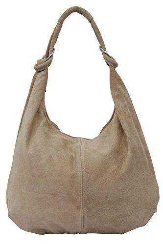 Ambra Moda WL803 - Borsa a spalla in pelle scamosciata donna DIN-A4 42 cm x 35 cm x 4 cm , Beige (beige scuro), XX-Large