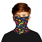 Unisex Print Kids Neck Gaiter Face Mask Multifunctional Seamless Bandana Ear Loops Scarf Mask for Outdoor Running Sports(Floral, 7-10T)