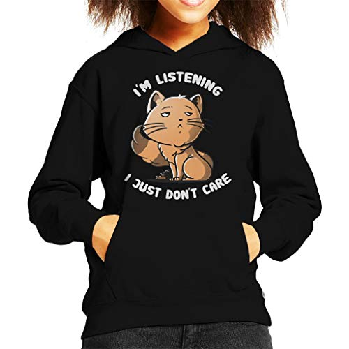 Cloud City 7 Im Listening I Just Dont Care Funny Cat Kid's Hooded Sweatshirt