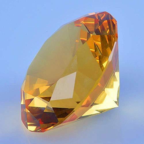 TYGJB Cristal Tallado Diamante Figuras Miniaturas Artesanía Regalo Feng Shui Eventos de Boda para la decoración de la Mesa en casa Accesorios (Amarillo)