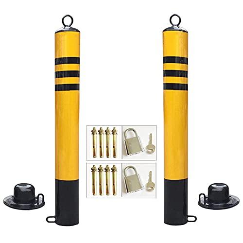 FACAZ Colonne de barrière de stationnement Noire, Poteau de sécurité Robuste avec Anneau de Suspension et Base Mobile, borne en métal galvanisé (Taille: 76 × 650 mm)