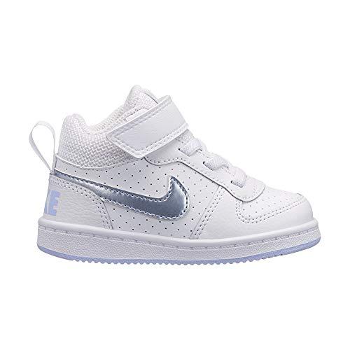 Nike Court Borough Mid (TDV), Pantofole Unisex-Bimbi, Multicolore (White/Royal Tint 103), 22 EU