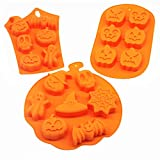 3 PCS Silicone Halloween Ghost Pumpkin Baking Mold Set …