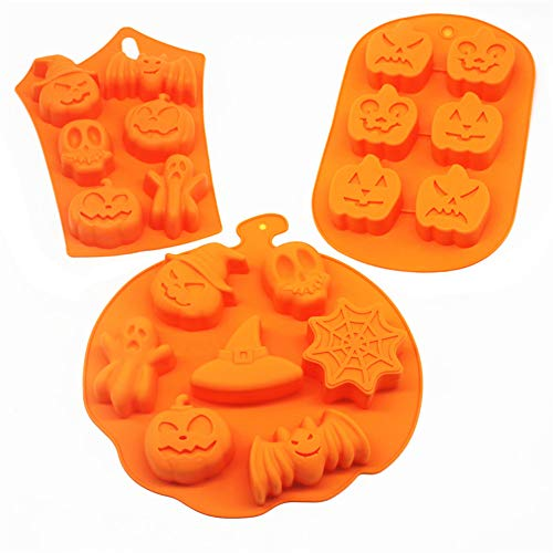 3 PCS Silicone Halloween Ghost Pumpkin Baking Mold Set Non-Stick Chocolate Jelly Fondant Cake Baking mold for Party Gift Handmade Soap Molds with Shape of Skull Bat Ghost
