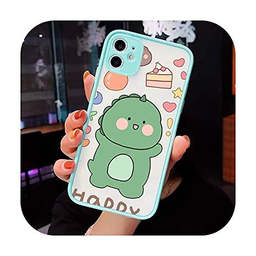 Cute Cartoon Animal Dinosaur Pareja Teléfono Carcasas Mate Transparente Para iPhone 12 Mini 11 Pro XR XS Max 7 8 Plus X Cubierta Trasera-a9-iPhone11pro Max