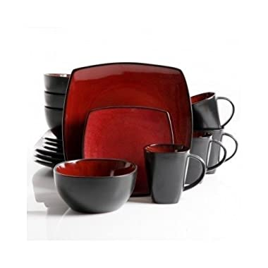 Square Dinnerware Service for 8, Plates Bowls Mugs, 32-Piece Set, Modern Red & Black