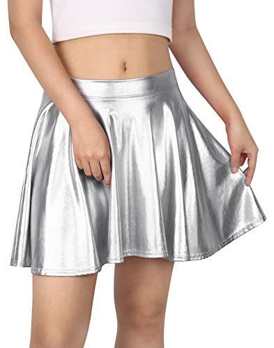 HDE Women's Shiny Liquid Metallic Wet Look Flared Pleated Skater Skirt (Silver, Small)