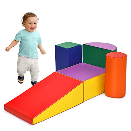 Safeplus Climb and Crawl Soft Foam Play Set , Lightweight & Safe Foam Blocks for Climbing, Crawling and Sliding, Indoor Climber Toys for Toddlers Preschoolers Baby Kids Children, 5 Piece