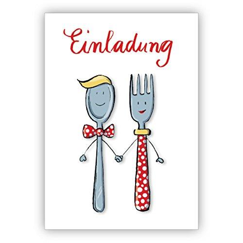 Süsse Einladung zum Essen mit Herrn und Frau Löffel und Gabel • hübsche hochwertige Grusskarte mit Umschlag für Sie gefertigt