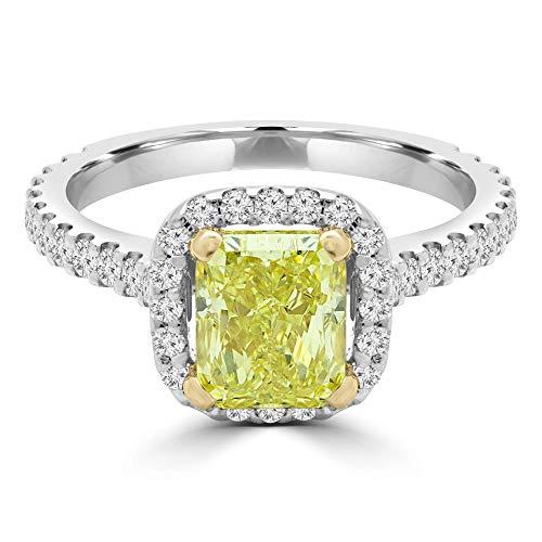 2 CTW stralende gele diamanten kathedraal tweekleurige gouden kussen halo verlovingsring in 14k wit goud met accenten (MD200052)