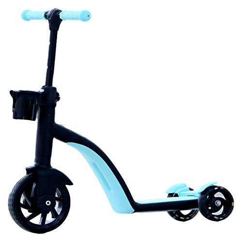 3 en 1 niño de Vespa, Niñas Niños Niños 3 Kick Scooters de Rueda, Altura Ajustable Extra Ancho PU Intermitente Ruedas Scooter para niños de 2 a 8 años de Edad,Azul