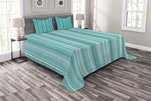 Colcha de color aguamarina, imagen geométrica de líneas de paleta de inspiración abstracta del océano, juego de colcha decorativa acolchada de 3 piezas con 2 fundas de almohada, azul turquesa