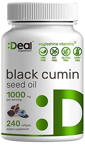 Eagleshine Vitamins Aceite de semilla de comino negro, 1000 mg, prensado en frío, refinado, sin olor e incoloro, procedente de Nigella Sativa, 240 cápsulas blandas, suministro de 4 meses, cápsulas de aceite de semillas negras avanzadas