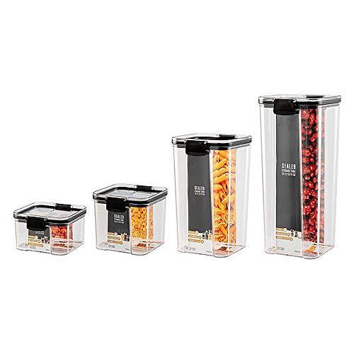Botes Cocina Juego de 8 Piezas de Recipiente de Botes Cocina Almacenaje de Plástico de Alimentos Sellados con Tapa Se Utiliza para Almacenar Cereales Pasta Arroz Harina