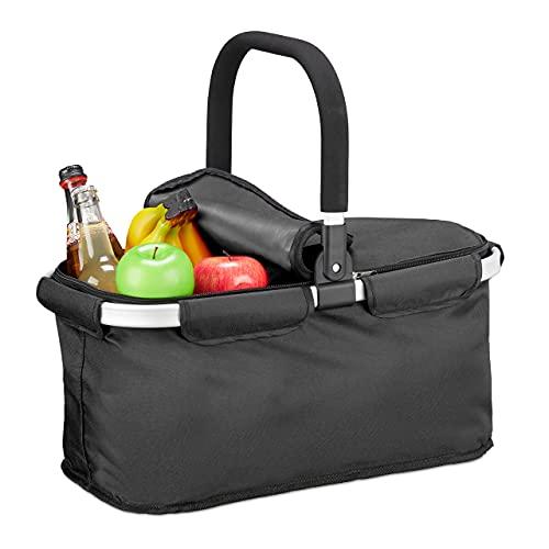 Relaxdays Einkaufskorb faltbar, mit Deckel, Tragekorb mit Henkel, 25 L, Polyester, Faltkorb mit Reißverschluss, schwarz