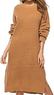 LUZAISHENG Long Sleeve Loose Long Knit Dress, Size: One Size(Pink) 2020 Fashion (Color : Camel, Size : One Size)
