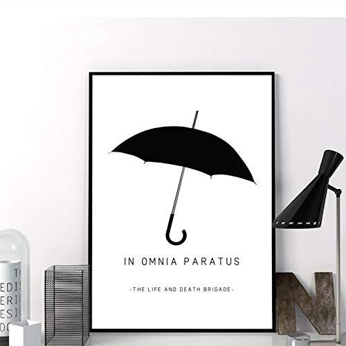 TeriliziIn Omnia Paratus Wandkunst Leinwand Poster Drucke Gilmore Girls Tv Show Malerei Schwarz Weiß Umbrella Bild Home Wandkunst Dekor-50X70Cm Kein Rahmen