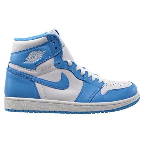 Jordan Air 1 Retro High OG Men's Basketball Shoes White/Dark Powder Blue 555088-117 (8.5 D(M) US)