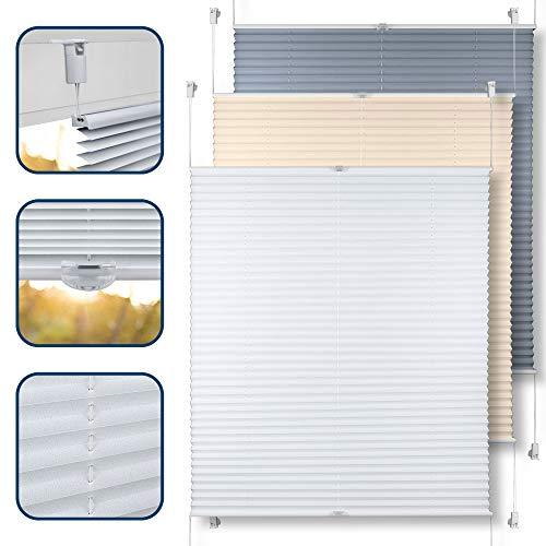 TEKONA Plissee Faltrollo Jalousie Rollo Ohne Bohren Klemmfix Easyfix Fenster Tür - Weiß, 90 cm x 100 cm (B x L)