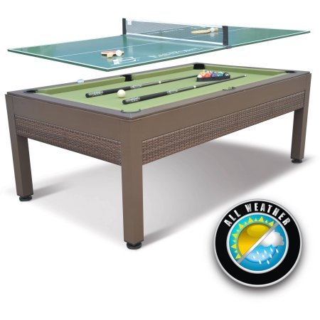 EastPoint Sports 84' Outdoor Billiard Pool Table with Table Tennis Top, Wicker