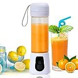 POWERAXIS Blender Portable Mixeur, Mini-blenders USB Rechargeable Smoothie Maker Affichage LED pour Mixed Drinks Fruit Juice, masque complet, Six lames 3D【420 ml】