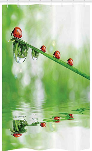 ABAKUHAUS Natur Schmaler Duschvorhang, Marienkäfer auf Wasser Bild, Badezimmer Deko Set aus Stoff mit Haken, 120 x 180 cm, rot grün