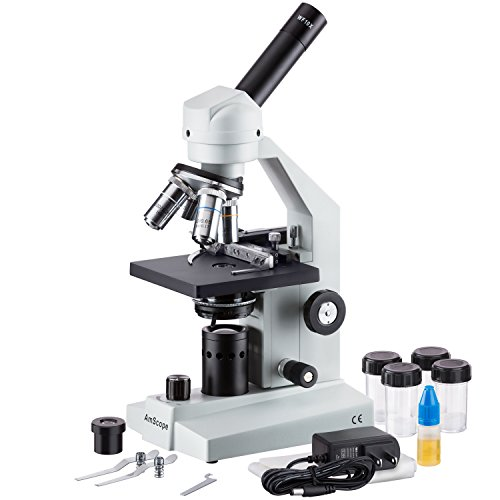 AmScope M500B-MS-LED Cordless Monocular Compound Microscope, WF10x and WF20x Eyepieces, 40x-2000x Magnification, Anti-Mold Optics, LED Illumination, Brightfield, Abbe Condenser, Coarse and Fine Focus, Plain Stage with Mechanical Specimen Holder, 110V or Battery