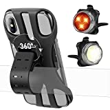 Detachable Bike Phone Holder and Bike Light Set, Upgraded Sopownic 360 Rotation Universal Phone Mount with Rechargeable LED Bicycle Light, Bicycle Accessories, Silicone Cellphone Stand