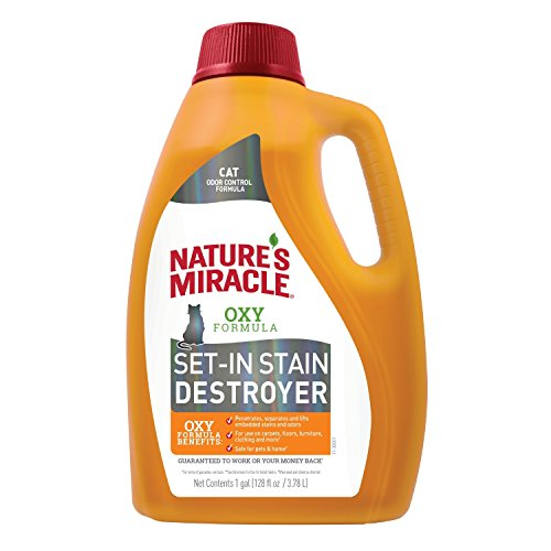 Nature's Miracle Cat Oxy Formula Set-In Stain Destroyer, 128 fl oz, Pet Stain Remover and Odor Control for Set In Stains
