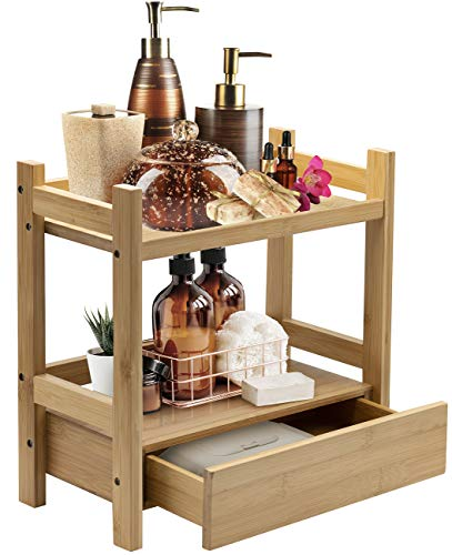 Sorbus Bamboo Makeup Organizer, Multi-Purpose Storage for Skincare, Toiletries, Desktop, Household Items, Display Stand Shelf for Bathroom Vanity Counter, Kitchen, Office (2-Tier)