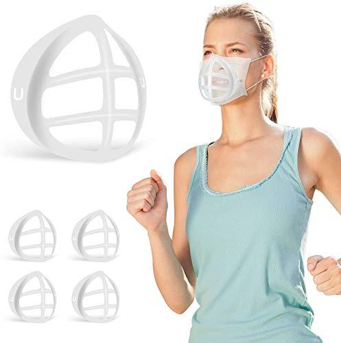 Soporte de máscara de silicona 3D para niños y profesores de fácil respiración, protege el lápiz labial grande, marco de soporte de inserción, antivaho, reutilizable, para adultos (5 unidades)
