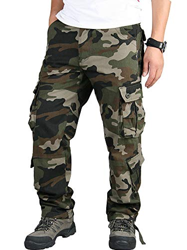 Mens Cargo Multi Pocket Military Camo Combat Work Relaxed-Fit Pants Army Camo 36-US 34