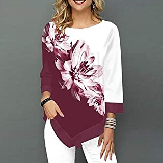 Funien Fashion Women Floral Printed Blouse Plus Size 3/4 Sleeves Irregular Hemline O Neck Spring T-shirts Tees Casual Tops