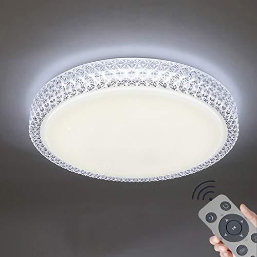 60W LED Deckenleuchte Dimmbar, Deckenlampe Kristall Sternenhimmel Leuchte für Flur, Wohnzimmer, Küche, Büro, Modern Lampe Schutzart, Energie Sparen Licht (60W-Runden)