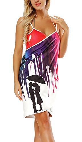 Martinad Toalla Pareo Mujer Verano Moda Impresión Elegantes 3D Vestido con Estilo único Playa V Cuello Sin Espalda Tirantes Outdoor Natación Bikini Cover Up Pareos Playa