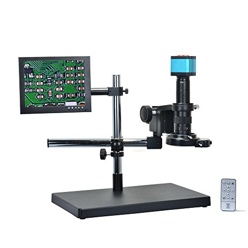 HAYEAR 14MP HDMI HD USB Digital Industry Video Microscope Camera Set+Big Boom Stand Universal Bracket +180X C-Mount Lens+144 LED Light + 8' inch HDMI LCD Monitor (180X Zoon Lens)