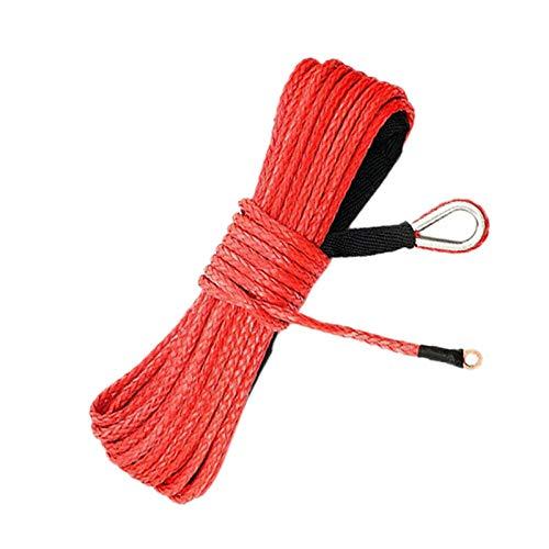 Nrpfell 3/16 Pulgadas X 50 Pulgadas 7700 Lbs Cable de Línea de Cabrestante Sintético con Funda de Protección para ATV Utv (Rojo)