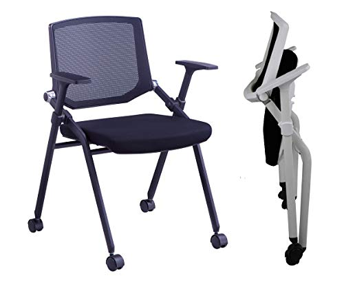 2 Packs Elegance Ergonomic Folding Home Office Chair Nesting Chair with Armrest Stacking Office Chair with Castors Light Weight Portable for Home Office Study Room Dormitory Affordable 330LBS (Black)