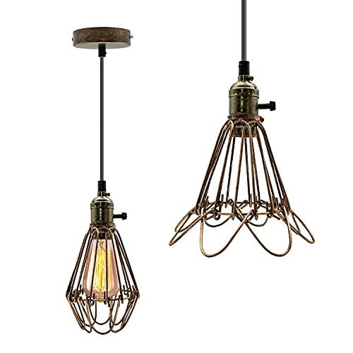 Lámpara de Techo Industrial Vintage E27 Iluminación Colgante de Interior de Metal Edison Lámpara con Interruptor, para Dormitorio, Restaurante Marrón (Bombilla No Incluida)