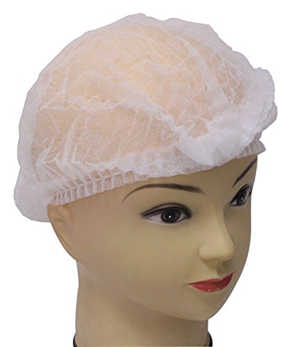 Yes!Fresh 100 pieces disposable Non-woven Clip Caps Mob caps hairnets head cover, 21', with 6 colors for you to choose. (White)