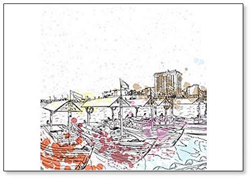 Watercolor Splash Oude Traditionele Boten op de Bay Creek in Dubai, UAE Koelkast Magneet