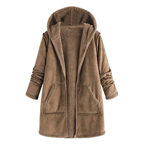 Lazzboy Tasche Winter Kapuze Langarm Mantel Tops Damen Große Größe Mode Pullover Kapuzenpullover Winterjacke Cord Warm Hoodie Revers Jacke Outwear Lange(Khaki,2XL)