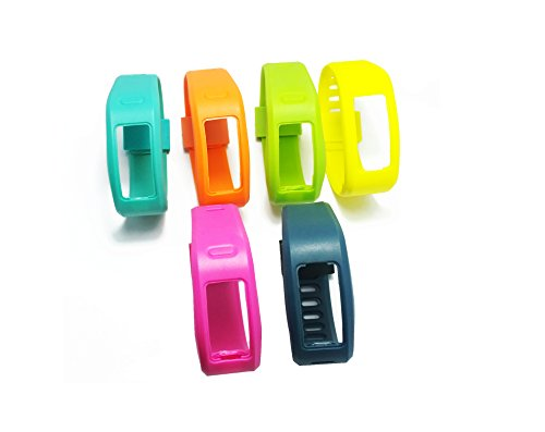 WEINISITE Silikon Ersatz Armband für Garmin Vivofit 1 (6 PCS+6 Stück Befestigungen, L)